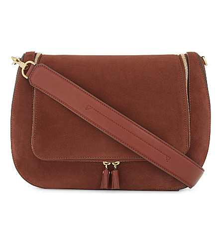 ANYA HINDMARCH Vere maxi suede and leather shoulder bag (Chestnut