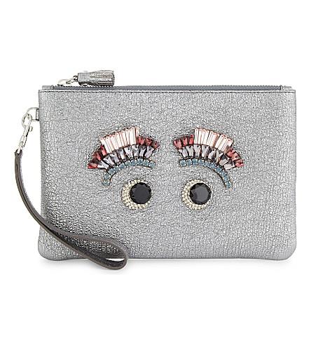 ANYA HINDMARCH Jewel eyes leather wristlet (Steel
