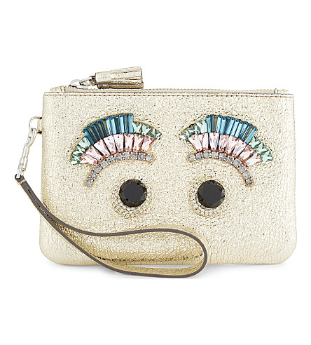 ANYA HINDMARCH Jewel eyes leather wristlet (Pale+gold