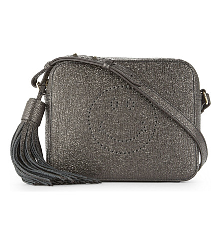 ANYA HINDMARCH Smiley leather cross-body bag (Anthracite