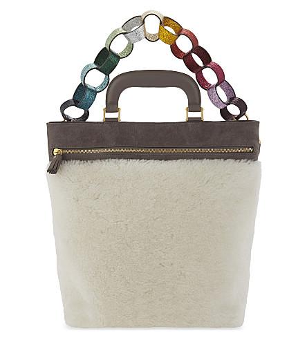 ANYA HINDMARCH Orsett paperchain nubuck and shearling shoulder bag (Chalk