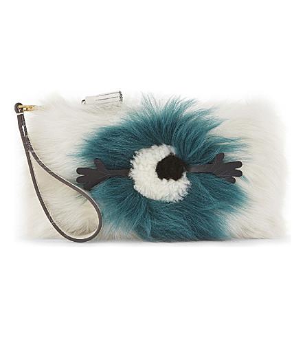 ANYA HINDMARCH Shearling eye clutch bag (White