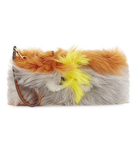 ANYA HINDMARCH Shearling eye clutch bag (Sunset