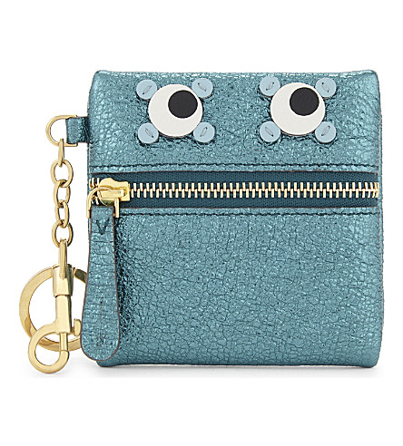 ANYA HINDMARCH Circulus Eyes coin purse (Dark+teal
