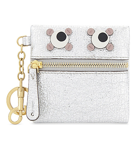 ANYA HINDMARCH Metallic leather coin purse (Silver