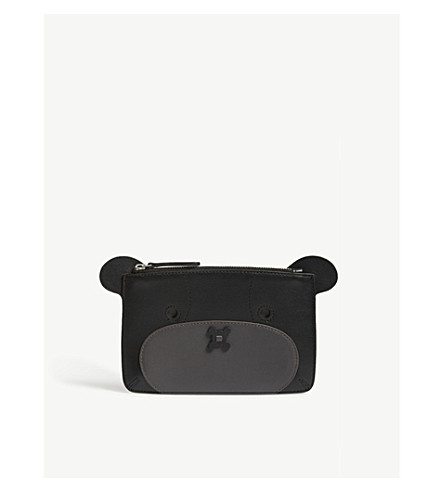 ANYA HINDMARCH Bear leather pouch (Black