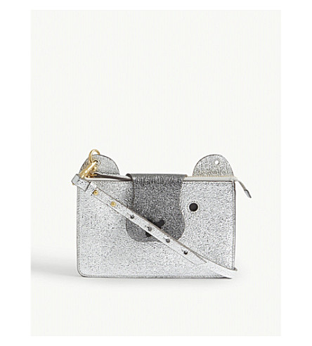 ANYA HINDMARCH Metallic Husky leather cross-body bag (Silver