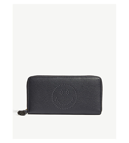 ANYA HINDMARCH Zip-around smiley face leather wallet (Marine