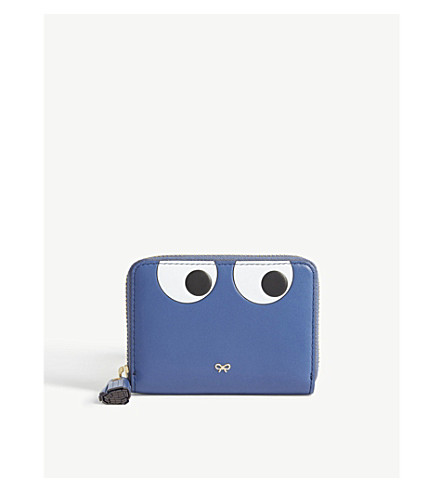 ANYA HINDMARCH Cartoon eyes leather wallet (Blueberry
