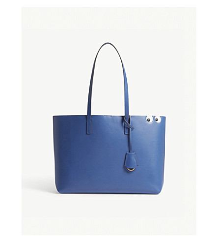 ANYA HINDMARCH Ebury eyes leather shopper bag (Blueberry