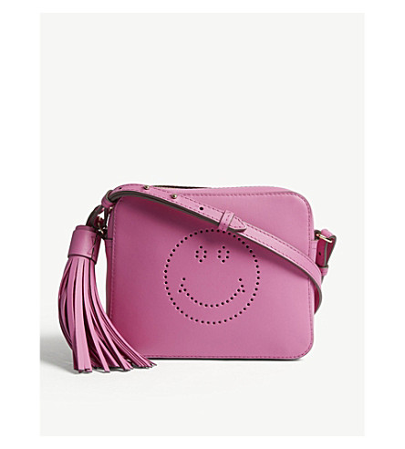 ANYA HINDMARCH Smiley leather cross-body bag (Bubblegum
