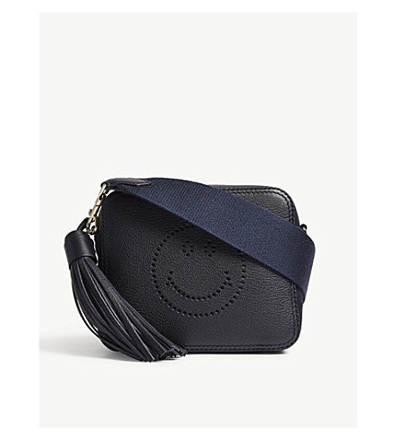 ANYA HINDMARCH Smiley leather and suede cross-body bag (Marine