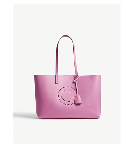 ANYA HINDMARCH Ebury Smiley leather shopper (Bubblegum