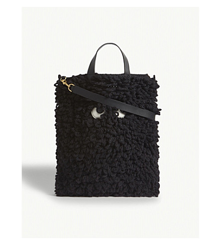 ANYA HINDMARCH Cartoon eyes wool and leather tote (Black
