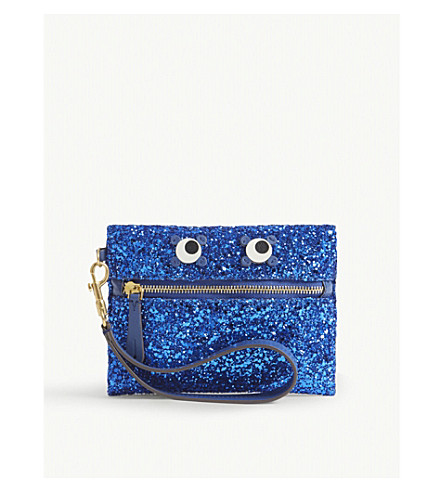 ANYA HINDMARCH Eyes glitter pouch (Electric+blue
