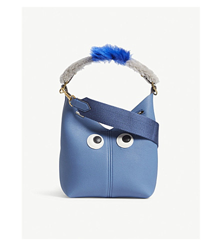 ANYA HINDMARCH Mini creature leather bucket bag (Periwinkle
