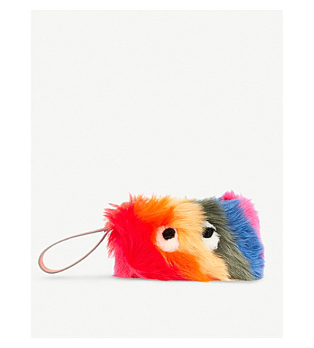 ANYA HINDMARCH Creeper shearling clutch bag (Multi