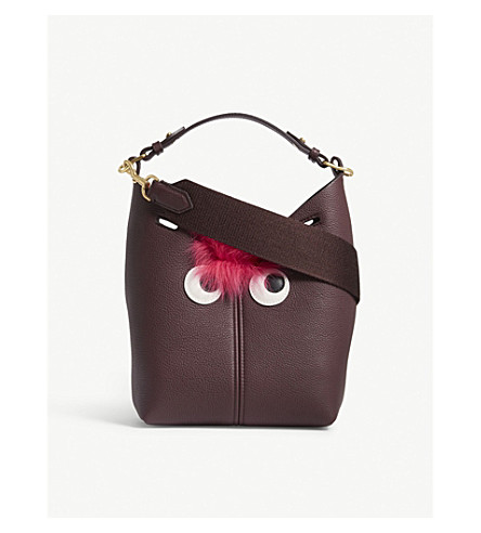 ANYA HINDMARCH Creature mini grained leather shoulder bag (Claret