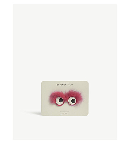 ANYA HINDMARCH Monster leather and faux-fur stickers (Magenta