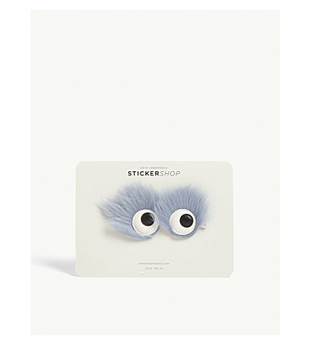 ANYA HINDMARCH Monster leather and faux-fur stickers (Periwinkle