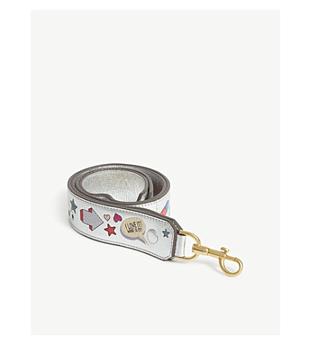 ANYA HINDMARCH Sticker metallic leather bag strap (Silver