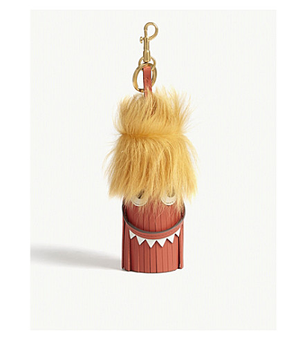 ANYA HINDMARCH Monster leather and faux-fur bag charm (Burnt+sienna