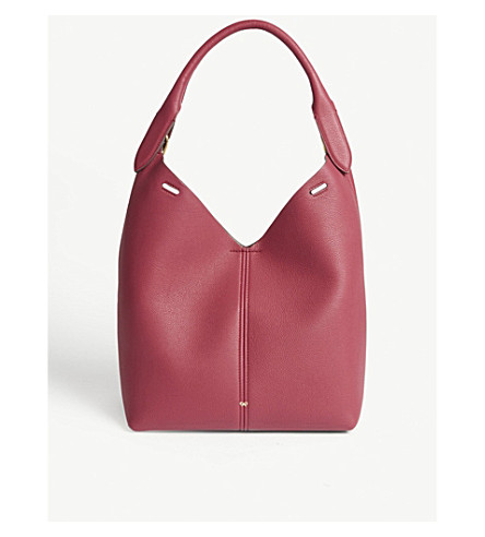 ANYA HINDMARCH Leather and faux-fur shoulder bag (Raspberry/magenta