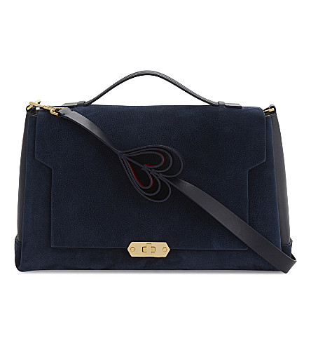 ANYA HINDMARCH Bathurst heart motif leather and suede cross-body bag (Marine