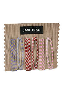 JANE TRAN Multi checkered bobby pin and clip set