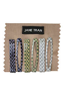 JANE TRAN Checkered bobby pin and clip set