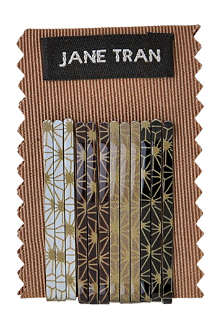 JANE TRAN Brown deco spark bobby pin set