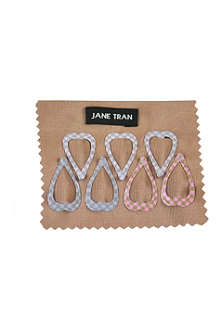 JANE TRAN Small pattern heart clip set