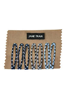 JANE TRAN Blue brushstroke clip set