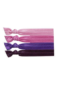 RIBBAND Pink and purple hair ties