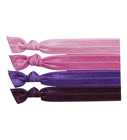 RIBBAND Pink and purple hair ties