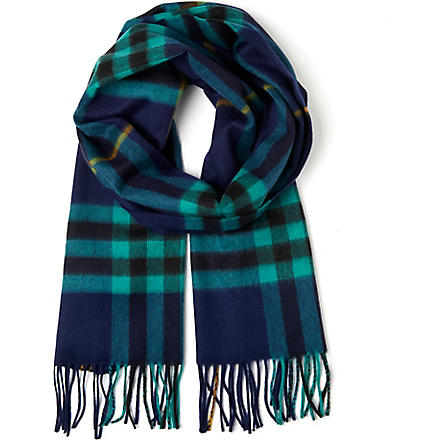 BURBERRY Checked cashmere scarf (Indigo