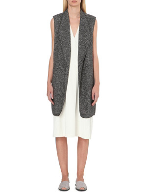 VINCE Longline wool and cotton-blend gilet