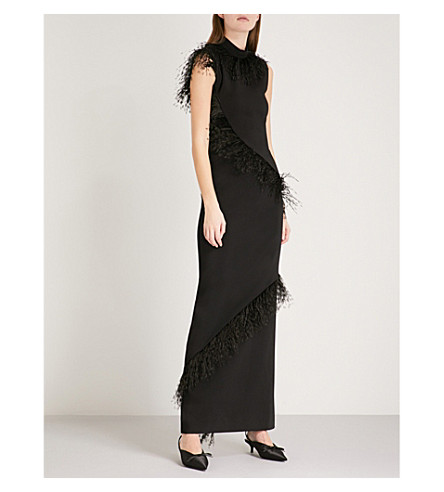 CHRISTOPHER KANE Feather-embellished crepe maxi dress (Black