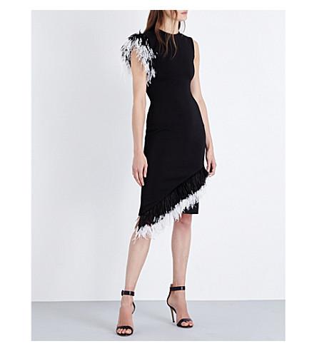 CHRISTOPHER KANE Feather-trim crepe dress (Black