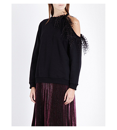 CHRISTOPHER KANE Feather-embellished cold-shoulder cotton-jersey sweatshirt (Black