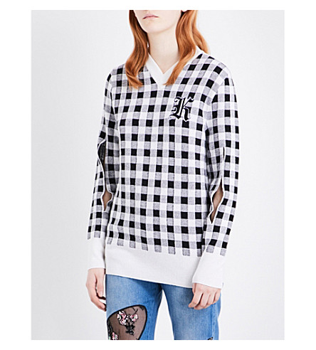 CHRISTOPHER KANE Gingham wool and cashmere-blend jumper (Black white