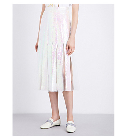 CHRISTOPHER KANE Pleated A-line sequin skirt (Iridescent