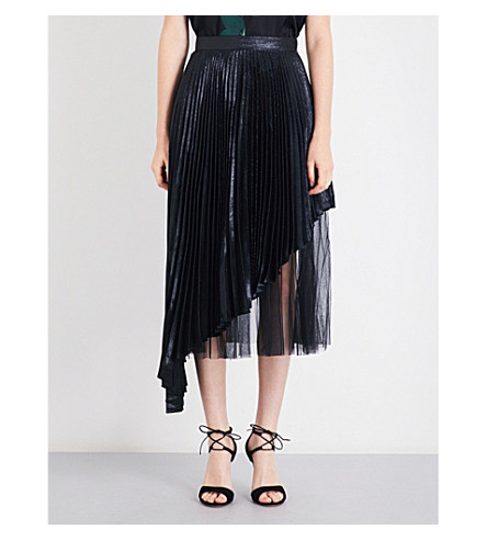 CHRISTOPHER KANE Pleated metallic midi skirt (Black