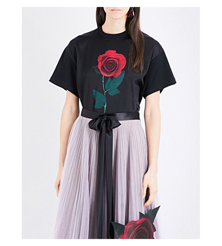 CHRISTOPHER KANE Christopher Kane Beauty and the Beast Rose cotton T-shirt (Black
