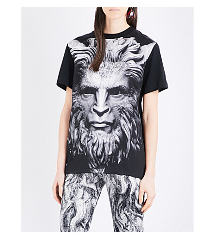 CHRISTOPHER KANE Christopher Kane Beauty and the Beast cotton and silk-blend T-shirt (Black