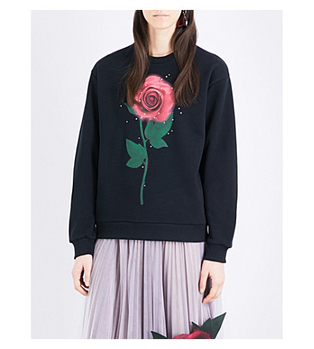 CHRISTOPHER KANE Christopher Kane Beauty and the Beast Swarovski Rose cotton sweatshirt (Black