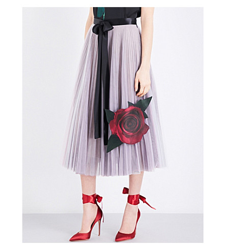 CHRISTOPHER KANE Christopher Kane Beauty and the Beast tulle and silk-satin skirt (Multi