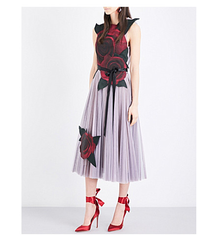 CHRISTOPHER KANE Christopher Kane Beauty and the Beast tulle and silk-satin dress (Multi
