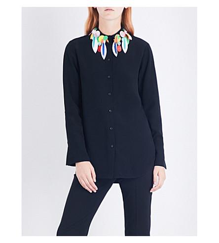 CHRISTOPHER KANE Embellished crepe shirt (Black