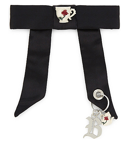 CHRISTOPHER KANE Beauty and the Beast satin charm brooch (Black